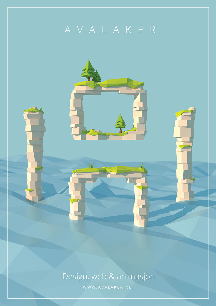 Low poly 3D poster for avalaker